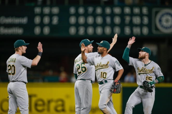 SEATTLE, WA - OCTOBER 03:  Members of the Oakland Athletics celebrate after defeating the Seattle Mariners 7-5 in thirteen innings at Safeco Field on October 3, 2015 in Seattle, Washington.  (Photo by Otto Greule Jr/Getty Images)